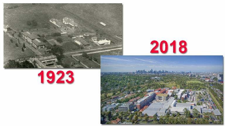 Side-by-side photos of CSL's Parkville site in 1923 and 2018.