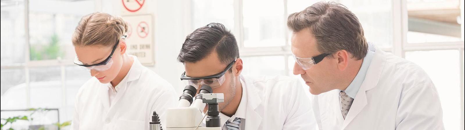 Three researcher in a lab